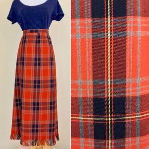 Vintage Orange Plaid Tartan Maxi Skirt with fringe